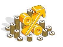 Conceito do lucro da renda da taxa de porcentagem, s?mbolo dimensional dos por cento com a pilha do dinheiro do dinheiro isolada  ilustração do vetor