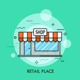 Conceito do lugar varejo, loja, shopping ilustração stock