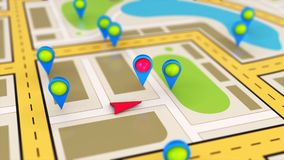 Conceito do mapa da navegação Fotos de Stock Royalty Free