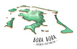 Conceito do mapa de Bora Bora Fotos de Stock Royalty Free