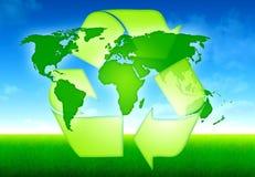 Conceito do mapa de mundo da ecologia Ilustração Stock