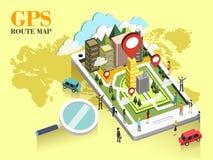 Conceito do mapa de rota de GPS Imagens de Stock Royalty Free