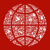 Conceito do mapa do globo do Natal Imagens de Stock Royalty Free