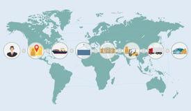 Conceito do mapa do mundo do infographics do serviço de transporte da entrega da logística da carga Fotografia de Stock Royalty Free