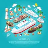 Conceito do mar e dos navios ilustração royalty free