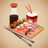 Conceito do marisco no estilo dos desenhos animados com rolo de sushi, cola, wasabi e arroz ilustração stock