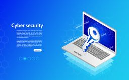 conceito do mecanismo da tecnologia de segurança do Cyber 3D Imagens de Stock