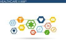 Conceito do mecanismo dos cuidados médicos Fundo abstrato com engrenagens e ícones conectados para médico, saúde, estratégia, cui ilustração stock