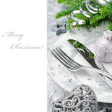 Conceito do menu do Natal no tom de prata Foto de Stock Royalty Free