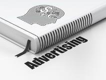 Conceito do mercado: cabeça do livro com símbolo da finança, Fotografia de Stock