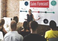Conceito do mercado da visão do planeamento da estratégia da previsão das vendas fotografia de stock