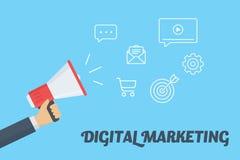 Conceito do mercado de Digitas Entregue guardar o megafone com a nuvem de ícones digitais do mercado Imagem de Stock