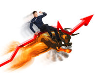 Conceito do mercado em alta na bolsa de valores Foto de Stock Royalty Free