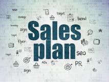 Conceito do mercado: Plano das vendas no papel de Digitas Imagens de Stock Royalty Free