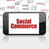 Conceito do mercado: Smartphone com comércio social na exposição Fotos de Stock Royalty Free