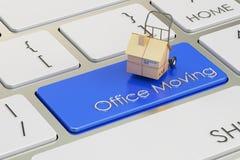 Conceito do movimento do escritório no botão vermelho do teclado, rendição 3D Foto de Stock