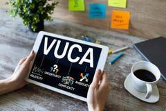 Conceito do mundo de VUCA na tela Volatilidade, incerteza, complexidade, ambiguidade fotografia de stock royalty free