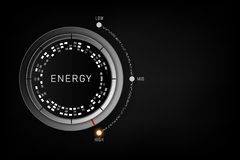 Conceito do nível de alta energia - botão do controle nivelado da eficiência na posição alta Ilustração do vetor ilustração royalty free