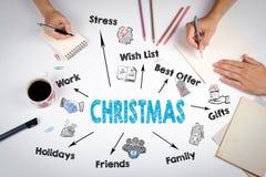 Conceito do Natal Carta com palavras-chaves e ícones A reunião na tabela branca do escritório Foto de Stock