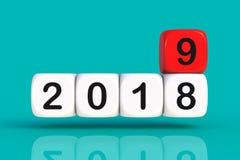 Conceito 2019 do Natal e do ano novo feliz com dados fotos de stock royalty free