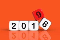 Conceito 2019 do Natal e do ano novo feliz com dados foto de stock