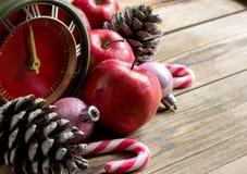 Conceito do Natal: maçãs, ramos do abeto e cones vermelhos Imagens de Stock Royalty Free