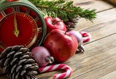 Conceito do Natal: maçãs, ramos do abeto e cones vermelhos Fotos de Stock Royalty Free