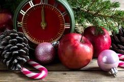 Conceito do Natal: maçãs, ramos do abeto e cones vermelhos Foto de Stock Royalty Free