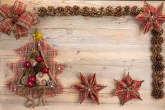 Conceito do Natal do vintage com espaço para o texto Fotografia de Stock Royalty Free