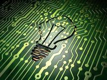 Conceito do negócio: Ampola no fundo da placa de circuito Imagens de Stock Royalty Free