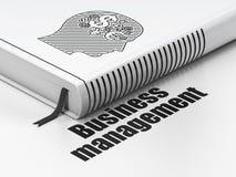 Conceito do negócio: cabeça do livro com símbolo da finança, Imagens de Stock Royalty Free