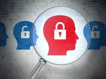 Conceito do negócio: Cadeado de Whis da cabeça com vidro ótico no digita Imagem de Stock