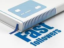 Conceito do negócio: cartão de crédito do livro, seguidores rápidos no fundo branco fotografia de stock