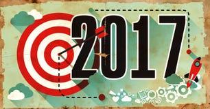 2017 - Conceito do negócio Cartaz no projeto liso Fotografia de Stock Royalty Free