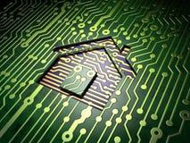Conceito do negócio: Casa no fundo da placa de circuito Imagem de Stock