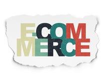 Conceito do negócio: Comércio eletrônico no papel rasgado Fotografia de Stock Royalty Free