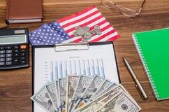 Conceito do negócio com gráfico, calculadora, dinheiro Fotografia de Stock Royalty Free