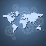 Conceito do negócio com o mapa do mundo Fotografia de Stock Royalty Free