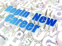 Conceito do negócio: Comece a carreira nova no fundo do alfabeto Fotografia de Stock Royalty Free