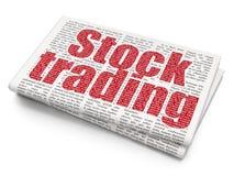 Conceito do negócio: Compra e venda de ações no fundo do jornal Foto de Stock