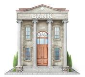 Conceito do negócio Construção de banco isolada no branco foto de stock
