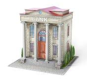 Conceito do negócio Construção de banco isolada no branco imagens de stock