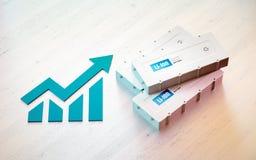 Conceito do negócio da bateria do veículo elétrico do Li-íon Gráfico crescente Fotografia de Stock