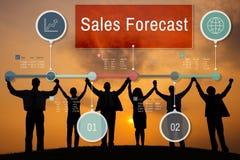 Conceito do negócio da estratégia do planeamento da previsão das vendas fotos de stock
