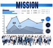 Conceito do negócio da estratégia do planeamento de mercado da missão Imagens de Stock
