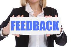 Conceito do negócio da mulher de negócios com o SE do cliente do contato do feedback fotos de stock