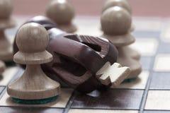 Conceito do negócio da vitória, perda, extremidade do jogo Tabuleiro de xadrez e rei e penhores imagens de stock royalty free