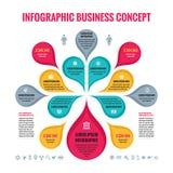 Conceito do negócio de Infographic - fundo abstrato - ilustração criativa do vetor com pétalas e ícones coloridos ilustração royalty free