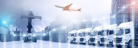 Conceito do negócio de transporte da logística imagem de stock