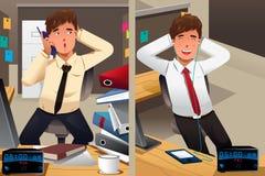 Conceito do negócio de uma segunda-feira triste e de uma sexta-feira feliz Imagem de Stock